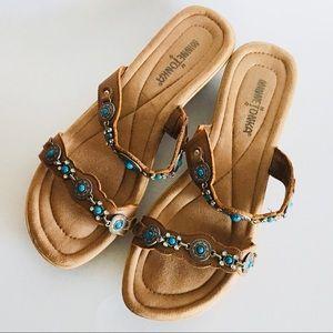 "bda1f6ab969f6 Minnetonka Shoes - MINNETONKA ""Boca"" Slide Sandals Turquoise Silver"